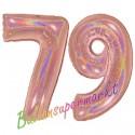 Luftballons aus Folie Zahl 79, Rosegold, holografisch, 100 cm mit Helium zum 79. Geburtstag
