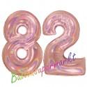 Luftballons aus Folie Zahl 82, Rosegold, holografisch, 100 cm mit Helium zum 82. Geburtstag