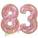Luftballons aus Folie Zahl 83, Rosegold, holografisch, 100 cm mit Helium zum 83. Geburtstag