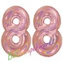 Luftballons aus Folie Zahl 88, Rosegold, holografisch, 100 cm mit Helium zum 88. Geburtstag