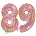 Luftballons aus Folie Zahl 89, Rosegold, holografisch, 100 cm mit Helium zum 89. Geburtstag