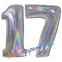 Luftballons aus Folie Zahl 17, Silber, holografisch, 100 cm mit Helium zum 17. Geburtstag