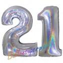 Luftballons aus Folie Zahl 21, Silber, holografisch, 100 cm mit Helium zum 21. Geburtstag