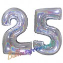 Luftballons aus Folie Zahl 25, Silber, holografisch, 100 cm mit Helium zum 25. Geburtstag