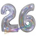 Luftballons aus Folie Zahl 26, Silber, holografisch, 100 cm mit Helium zum 26. Geburtstag
