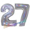 Luftballons aus Folie Zahl 27, Silber, holografisch, 100 cm mit Helium zum 27. Geburtstag