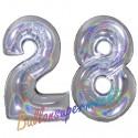 Luftballons aus Folie Zahl 28, Silber, holografisch, 100 cm mit Helium zum 28. Geburtstag