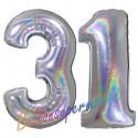Luftballons aus Folie Zahl 31, Silber, holografisch, 100 cm mit Helium zum 31. Geburtstag