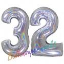 Luftballons aus Folie Zahl 32, Silber, holografisch, 100 cm mit Helium zum 32. Geburtstag