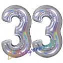 Luftballons aus Folie Zahl 33, Silber, holografisch, 100 cm mit Helium zum 33. Geburtstag