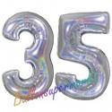 Luftballons aus Folie Zahl 35, Silber, holografisch, 100 cm mit Helium zum 35. Geburtstag