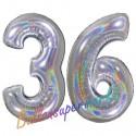 Luftballons aus Folie Zahl 36, Silber, holografisch, 100 cm mit Helium zum 36. Geburtstag