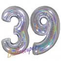 Luftballons aus Folie Zahl 39, Silber, holografisch, 100 cm mit Helium zum 39. Geburtstag