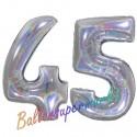 Luftballons aus Folie Zahl 45, Silber, holografisch, 100 cm mit Helium zum 45. Geburtstag