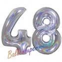 Luftballons aus Folie Zahl 48, Silber, holografisch, 100 cm mit Helium zum 48. Geburtstag