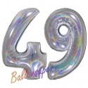 Luftballons aus Folie Zahl 49, Silber, holografisch, 100 cm mit Helium zum 49. Geburtstag