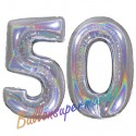 Luftballons aus Folie Zahl 50, Silber, holografisch, 100 cm mit Helium zum 50. Geburtstag