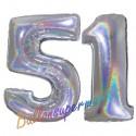 Luftballons aus Folie Zahl 51, Silber, holografisch, 100 cm mit Helium zum 51. Geburtstag