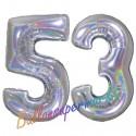 Luftballons aus Folie Zahl 53, Silber, holografisch, 100 cm mit Helium zum 53. Geburtstag