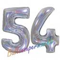 Luftballons aus Folie Zahl 54, Silber, holografisch, 100 cm mit Helium zum 54. Geburtstag