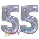 Luftballons aus Folie Zahl 55, Silber, holografisch, 100 cm mit Helium zum 55. Geburtstag