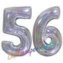 Luftballons aus Folie Zahl 56, Silber, holografisch, 100 cm mit Helium zum 56. Geburtstag