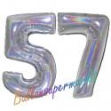 Luftballons aus Folie Zahl 57, Silber, holografisch, 100 cm mit Helium zum 57. Geburtstag
