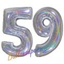 Luftballons aus Folie Zahl 59, Silber, holografisch 100 cm mit Helium zum 59. Geburtstag