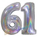 Luftballons aus Folie Zahl 61, Silber, holografisch, 100 cm mit Helium zum 61. Geburtstag
