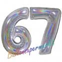 Luftballons aus Folie Zahl 67, Silber, holografisch, 100 cm mit Helium zum 67. Geburtstag