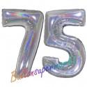 Luftballons aus Folie Zahl 75, Silber, holografisch, 100 cm mit Helium zum 75. Geburtstag