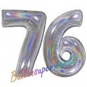 Luftballons aus Folie Zahl 76, Silber, holografisch, 100 cm mit Helium zum 76. Geburtstag
