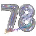 Luftballons aus Folie Zahl 78, Silber, holografisch, 100 cm mit Helium zum 78. Geburtstag