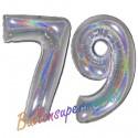 Luftballons aus Folie Zahl 79, Silber, holografisch, 100 cm mit Helium zum 79. Geburtstag