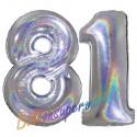 Luftballons aus Folie Zahl 81, Silber, holografisch, 100 cm mit Helium zum 81. Geburtstag