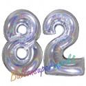 Luftballons aus Folie Zahl 82, Silber, holografisch, 100 cm mit Helium zum 82. Geburtstag