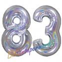 Luftballons aus Folie Zahl 83, Silber, holografisch, 100 cm mit Helium zum 83. Geburtstag