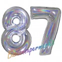Luftballons aus Folie Zahl 87, Silber, holografisch, 100 cm mit Helium zum 87. Geburtstag