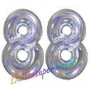 Luftballons aus Folie Zahl 88, Silber, holografisch, 100 cm mit Helium zum 88. Geburtstag