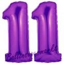 Luftballons aus Folie Zahl 11, Lila, 100 cm mit Helium zum 11. Geburtstag