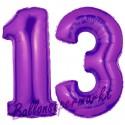 Luftballons aus Folie Zahl 13, Lila, 100 cm mit Helium zum 13. Geburtstag