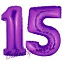 Luftballons aus Folie Zahl 15, Lila, 100 cm mit Helium zum 15. Geburtstag