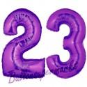 Luftballons aus Folie Zahl 23, Lila, 100 cm mit Helium zum 23. Geburtstag