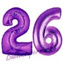 Luftballons aus Folie Zahl 26, Lila, 100 cm mit Helium zum 26. Geburtstag