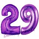 Luftballons aus Folie Zahl 29, Lila, 100 cm mit Helium zum 29. Geburtstag