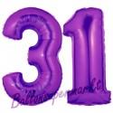 Luftballons aus Folie Zahl 31, Lila, 100 cm mit Helium zum 31. Geburtstag