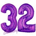 Luftballons aus Folie Zahl 32, Lila, 100 cm mit Helium zum 32. Geburtstag