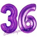 Luftballons aus Folie Zahl 36, Lila, 100 cm mit Helium zum 36. Geburtstag