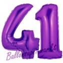 Luftballons aus Folie Zahl 41, Lila, 100 cm mit Helium zum 41. Geburtstag