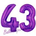 Luftballons aus Folie Zahl 43, Lila, 100 cm mit Helium zum 43. Geburtstag
